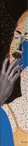 <span class='imageinfo'>Portrait mit Farbpunkten</span></br><span class='imageinfo'>Technik: </span>Acryl Kohle Collage auf Leinwand <span class='imageinfo'>Masse: </span>100x20cm <span class='imageinfo'>Künstler: </span>Matthias Pfanner