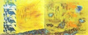 <span class='imageinfo'>Im Theater</span></br>Bühnenszene im Fotosiebdruck, mit Kohlestift skizzierter Theater-Bau auf gelbem Acryl Hintergrund umrahmt  mit Eisen und Kupfer Oxydation.</br><span class='imageinfo'>Technik: </span>Siebdruck/Oxidation/Acryl/Kohle <span class='imageinfo'>Masse: </span>Doppelbild 2x 100x80 cm <span class='imageinfo'>Jahr: </span>2018 <span class='imageinfo'>Künstler: </span>Matthias Pfanner <span class='imageinfo'>Preis: </span>auf Anfrage